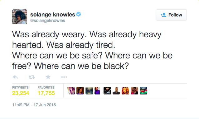 Solange Knowles Tweet saying: Where can we be safe? Where can we be black?